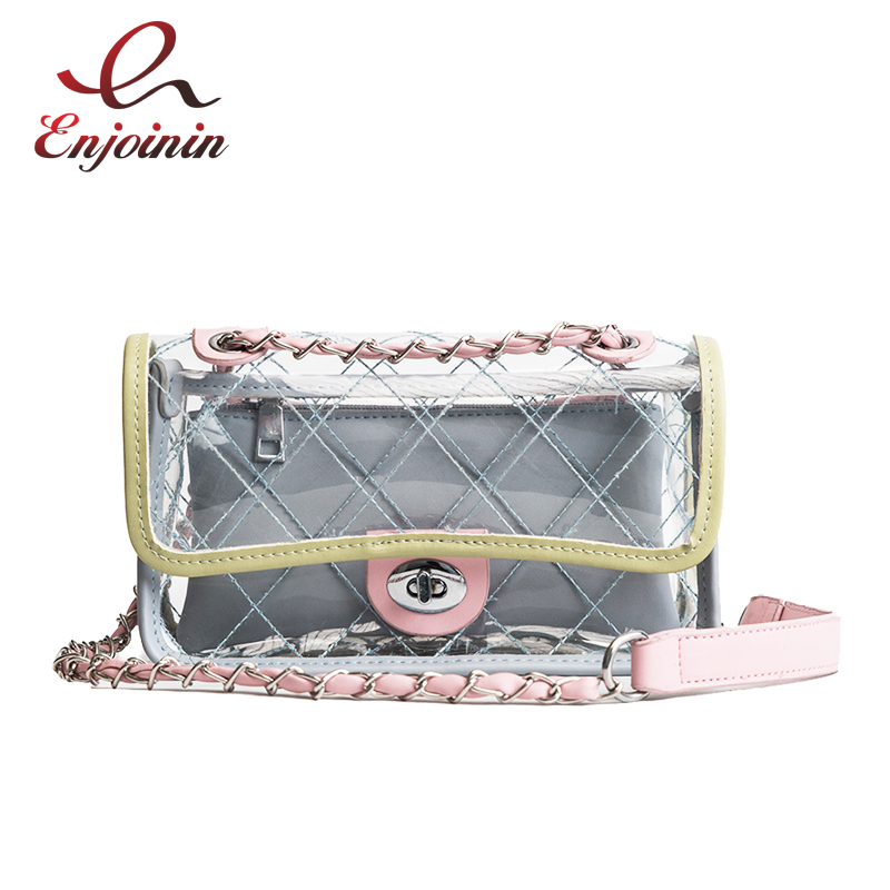 New Style Transparent Fashion Gradient Color Pvc Lingge Chain Ladies Shoulder Bag Handbag Fun Women's Mini Messenger Bag Purse mini gray shaggy deer pvc quilted chain bag with cover real picture