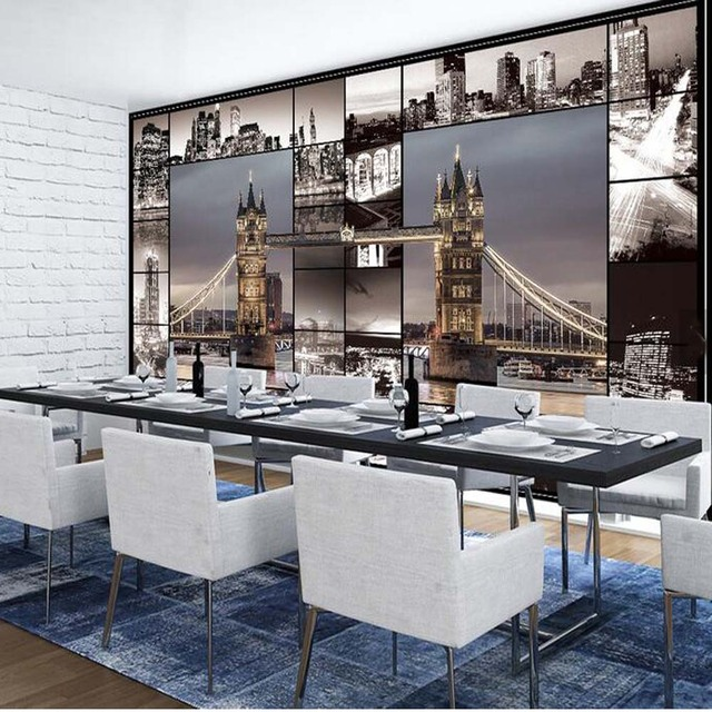 European Retro London Bridge City Landscape Wall Mural 3D Murals Wallpaper  Sitting Room Sofa TV Background Part 72