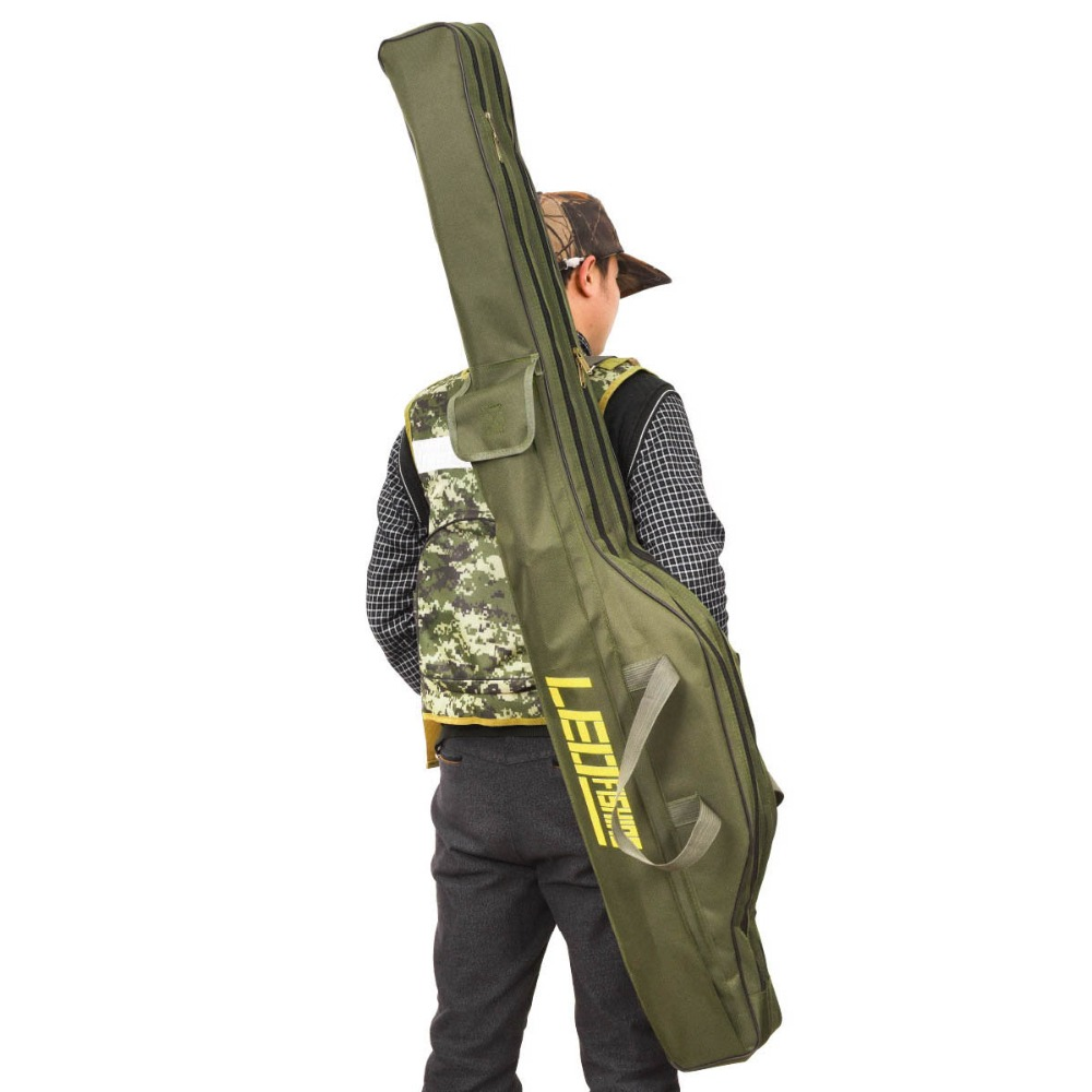 Portable Fishing Bag Folding Fishing Rod Carrier Canvas Fishing Pole Tools Storage Bag Case Fishing Gear Tackle Bags Pesca L30-in Fishing Bags from Sports & Entertainment