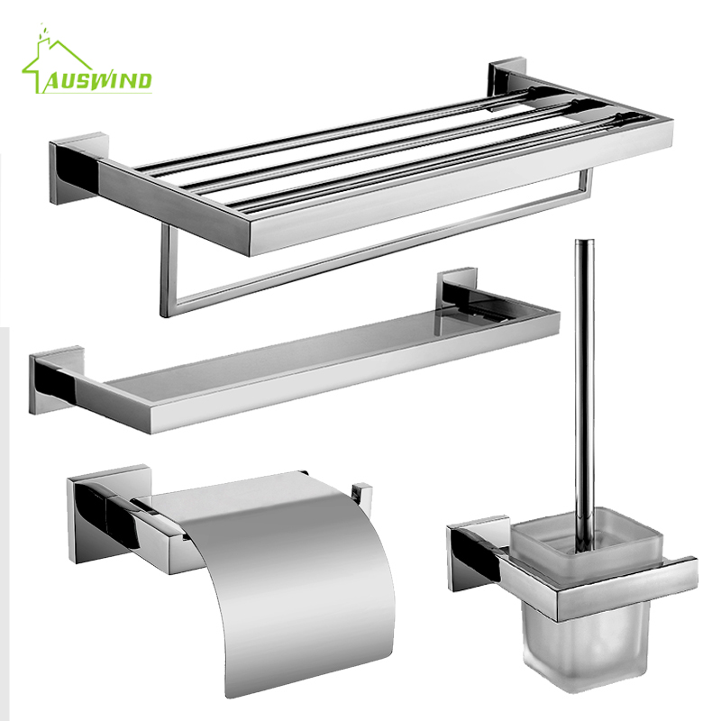SUS 304 Chrome Finish Bathroom Accessories Stainless Steel Bathroom Hardware Set Wall Mounted 4 items include for bathroom decor бита stayer profi 26221 2 25 50