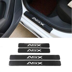 Adesivo de fibra de carbono para porta do carro, 4 unidades, seda, porta do carro, acessórios para mitsubishi asx, estilização do carro