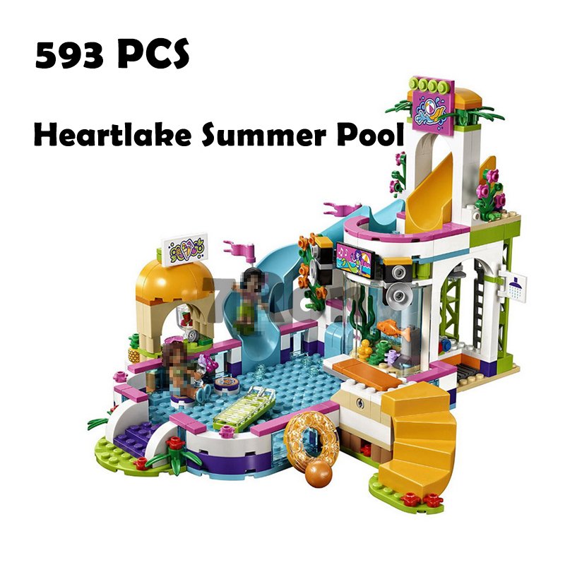 Compatible with lego toys 41313 Models building toy 10611 593PCS Friend Princess Heartlake Summer Pool Building Blocks & hobbies