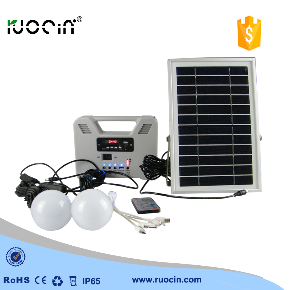 Solar system Home Lighting kit with 2 blub Rechargeable Battery ...