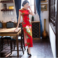 New Red Novelty Print Floral Women Qipao Vintage Chinese Style Bride Wedding Dress Lady Satin Sexy Long Cheongsam S XXXL