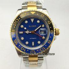 1aedcbf7193 40mm Bliger GMT SS Prata. amarelo Caso de Ouro Pulseira de Aço Mostrador  Azul Relógio Automático dos homens