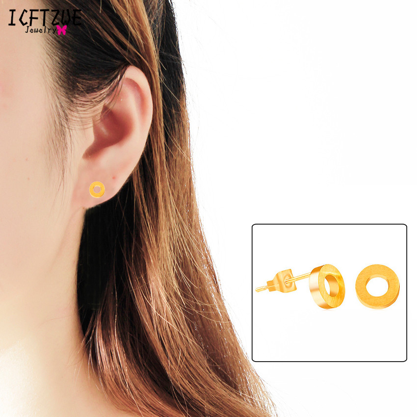 ICFTZWEc Men Jewelry Stainless Steel Tiny Circle Stud Earrings Fashion Jewelry Gold Colour Bijoux Femme Birthday Gift