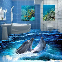 Wall Sticker Floor Wallpaper Stereoscopic Dolphin Ocean Bathroom Wall Floor Mural PVC Wallpaper Self Adhesive Floor
