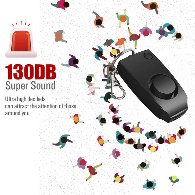 Self Defense Keychain Alarm Personal Protection Women Security Rape Alarm 130dB Loud Self Defense Supplies Emergency Alert Black