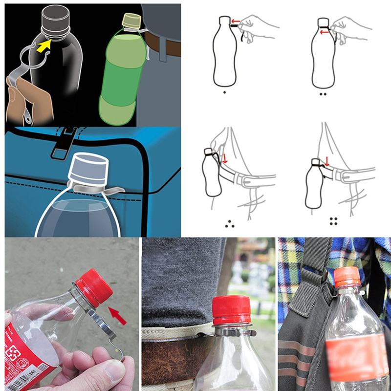Outdoor Stainless Steel Webbing Buckle Hook Water Bottle Holder Clip EDC Climb Carabiner Belt Backpack Hanger Camp New