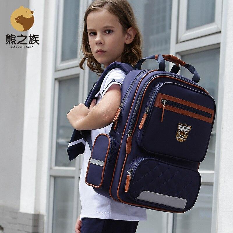 BEAR DEPT FAMILY Primary Schoolbags Student Boys Girls Backpack Children Kindergarten Orthopedic Backbag for middle student