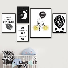 7-Space Nordic Baby Love Quotes Canvas Painting For Kids Room Wall Pictures Black White Art Print Poster Decor No Frame