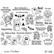 AZSG Happy Halloween Clear Stamps/Silicone Transparent Seals for DIY scrapbooking Card Making 11*16cm