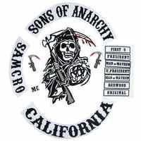 2015 Original fils de veste dos brodé Anarchy Biker Rider Patch support brodé biker patchs Badge 14 pièces/lot