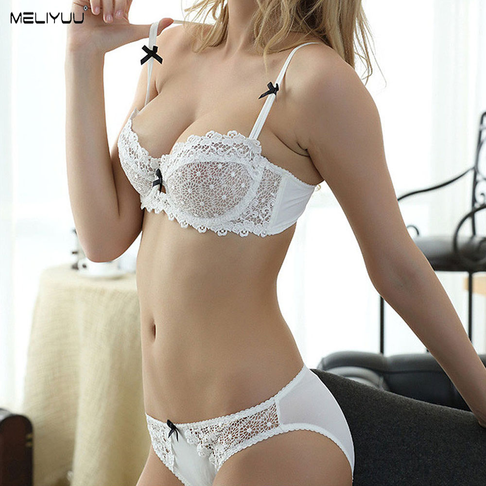 Women Sexy Lingerie Set Gather Bra Sets Floral Lace Bralette Unlined Underwire Brassiere Lace Panty Underwear Push Up Bras BH