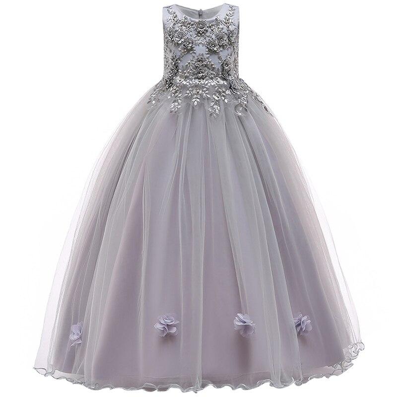 Пышные платья для девочек; платье для первого причастия; детское платье для свадебной вечеринки; платье для дня рождения; кружевные вечерние платья с лепестками для девочек; длинное платье для торжеств - Цвет: gray