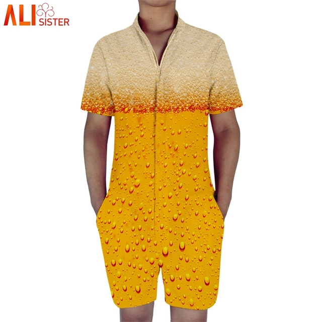 73014ea94131 Alisister Beer 3d Print Mens Romper Short Sleeve Male Single Breasted  Jumpsuit Cargo Short Pants Boyfriend Trousers Overalls