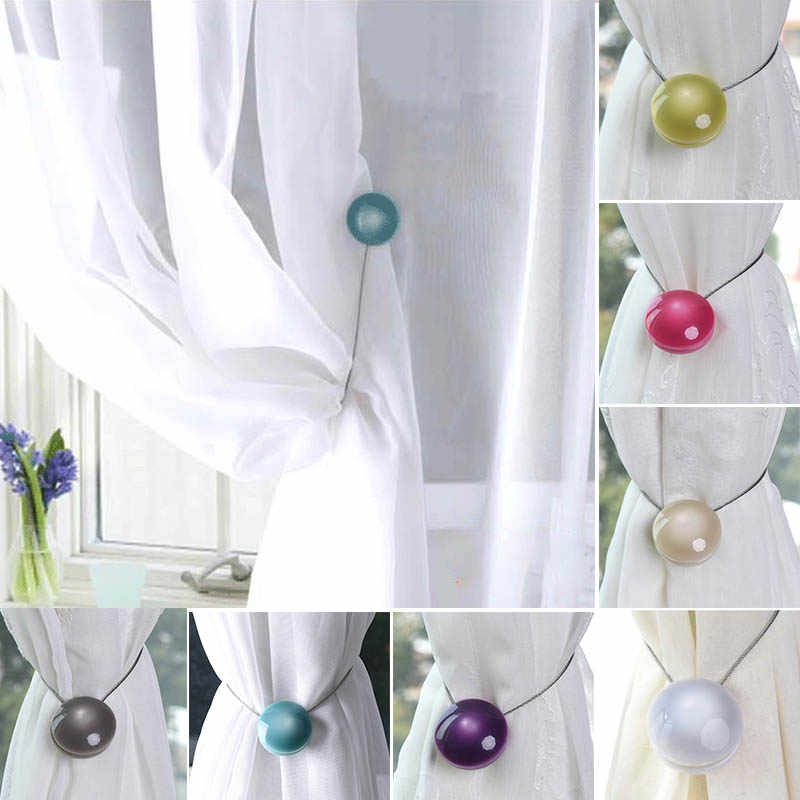 Curtain Straps Tied Resin Home Decor Curtain Holder Magnet Simple Cat-eye Curtain Buckles European Style Curtains Accessories