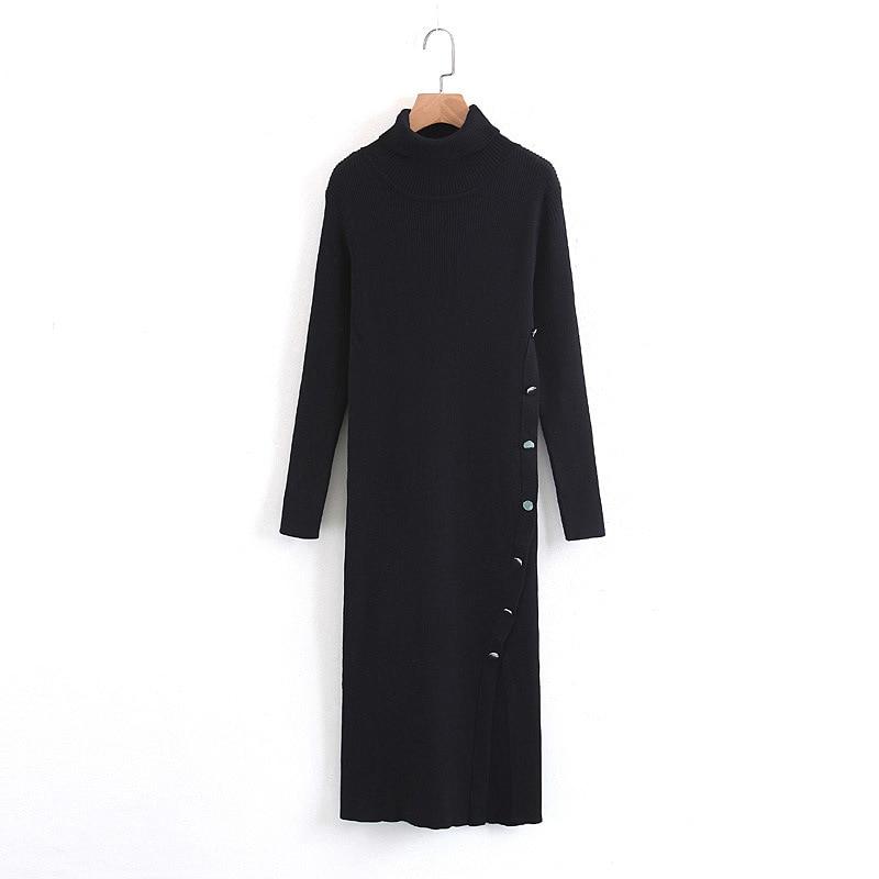turtlennck long sleeve side split single breasted midi slim bodycon sheath sexy dresses knitted sweater dress of women black цена