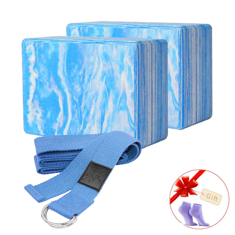 2Pcs Yoga EVA Foam Roller Block Pilates MassageRoller Brick Yoga Stretch Belt Strap Fitness Tool For Body Exercise Gym Fitness