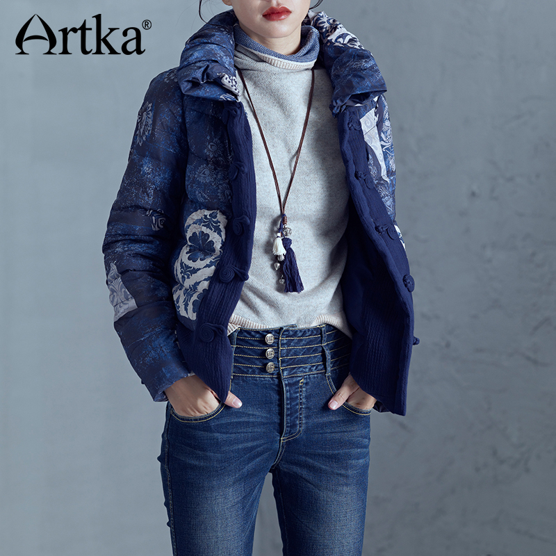 ARTKA 2018 Winter New 90% White Duck Down Manual Button Buckle Short Down Jacket Female Fashion Bread Collar Print DK10277D