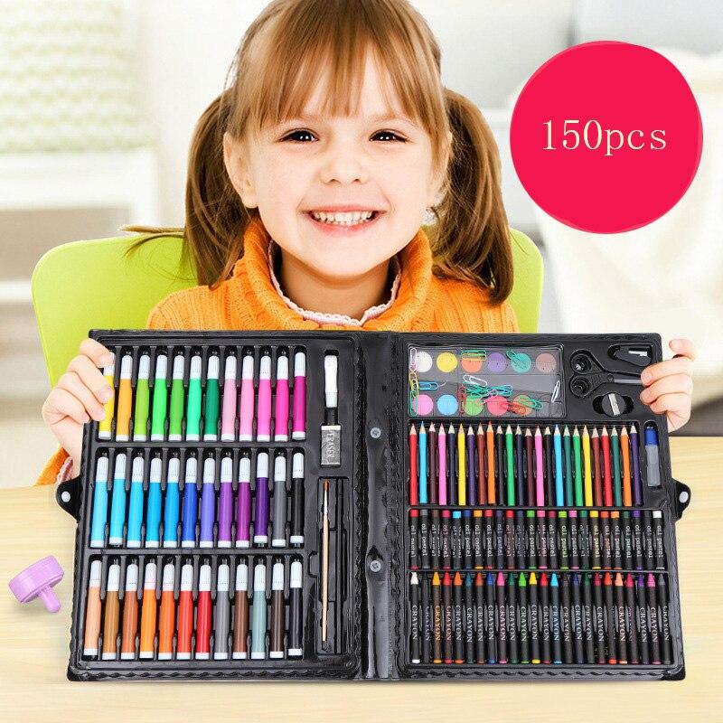 150 шт., игрушки для рисования, цветной карандаш, восковой карандаш, кисть для рисования маслом, детский инструмент для рисования, набор для ху