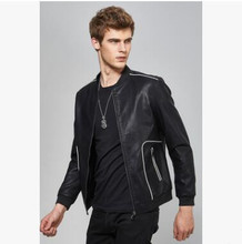 New Autumn Men Fashion Leather Jackets Solid Color Locomotive Clothing Male Simple Pockets Clothes Black Tops