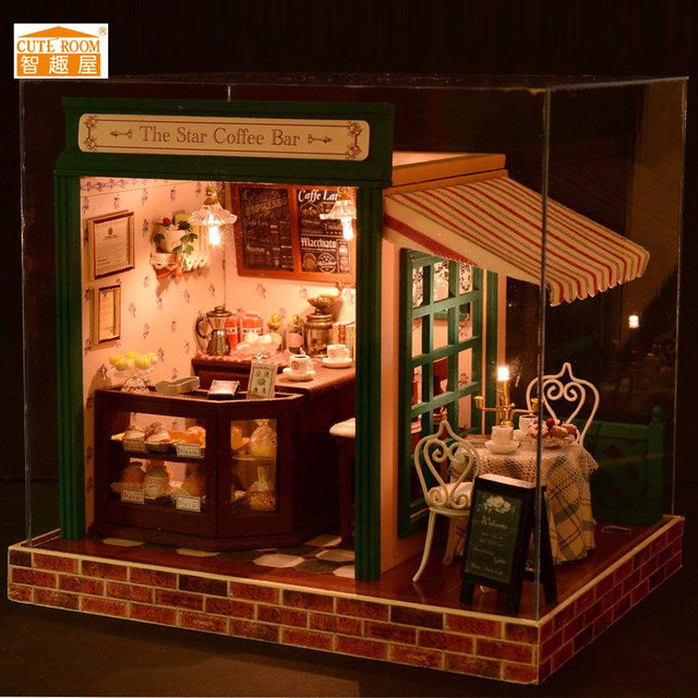 Diy Wooden Doll House With Furniture Led Kit Dollhouse Model Kit