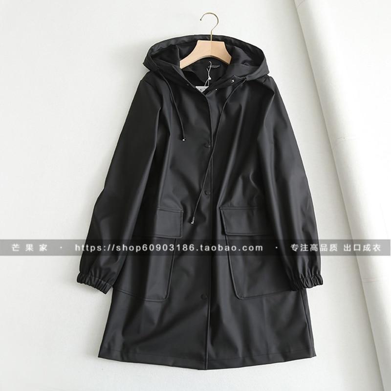 2019 Spring Autumn Women's New Loose Medium Length Hooded Windbreaker Windproof Waterproof Raincoat Windbreaker Coat Female Z24