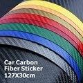 127*30 CM Fibra del Carbón 3D del Vinilo Del Coche que Envuelve la Hoja De Fibra De Carbono Coche de La Decoración Sticker Muchos Opción Del Color Freeshipping