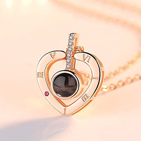 I Love You Necklace 100 Languages Heart Love Necklace Love Memory Projection Pendant Necklace for Women Gifts for Mothers Day Lahore