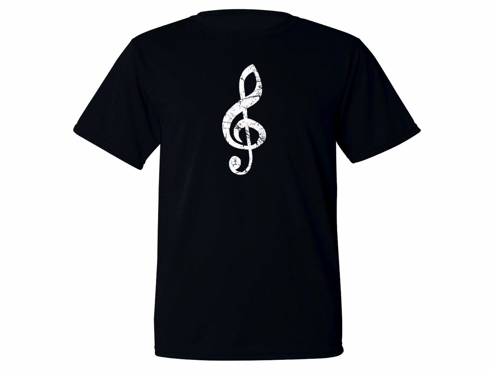 Music Player Gift Treble Clef Moisture Wicking Fabric Workout Black New T-shirt Mens image