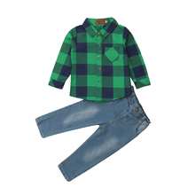 Toddler Kids Baby Boys Plaids Tops Long Sleeve shirt Denim Long Pants Outfits Clothes Set 2019 baby boy clothes set outfits long sleeve shirt tops pants overalls kids gentleman clothing baby boys