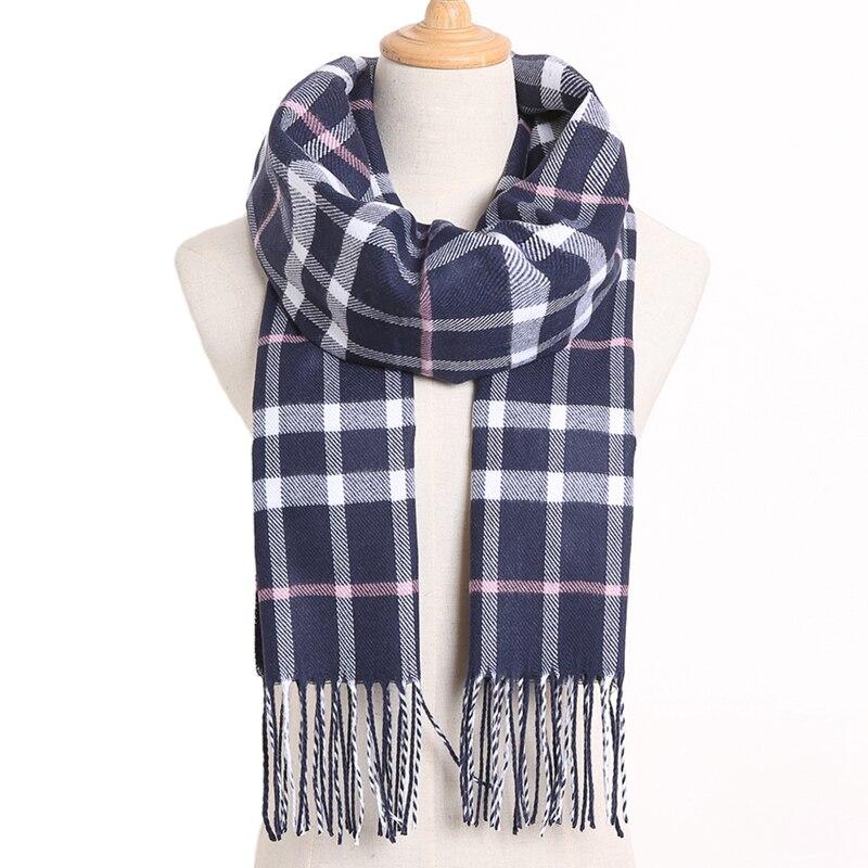 [VIANOSI] клетчатый зимний шарф женский тёплый платок одноцветные шарфы модные шарфы на каждый день кашемировые шарфы - Цвет: 02