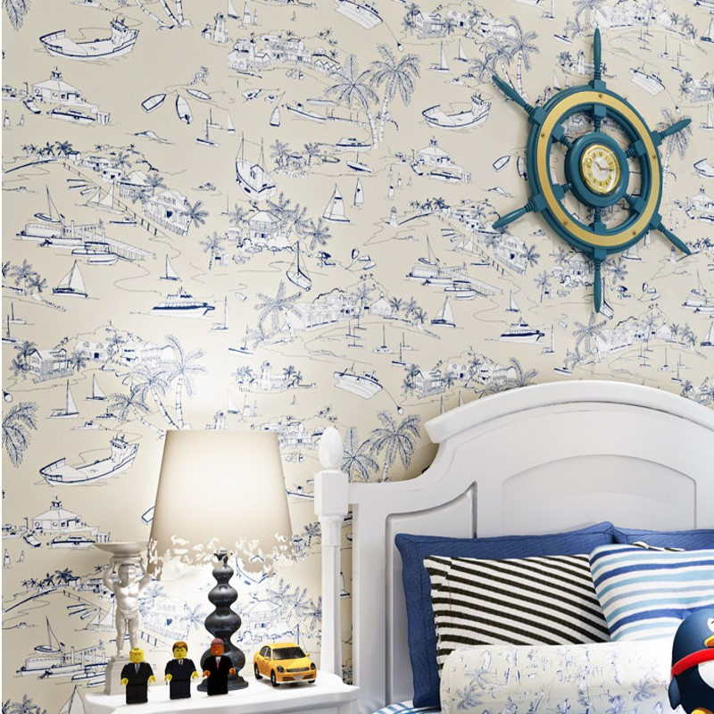 Free Shipping American Mediterranean children room wallpaper blue boat non-woven bedroom fairy tale pirate sailboat wallpaper