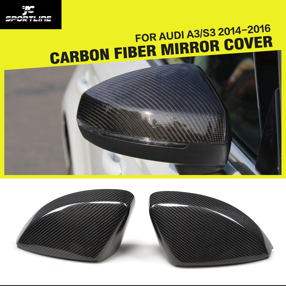 Car-Styling Carbon Fiber Replacement Side Review Mirror Caps Covers for Audi A3 / S3 / RS3 8V 2014-2016 without Side Assist Hole
