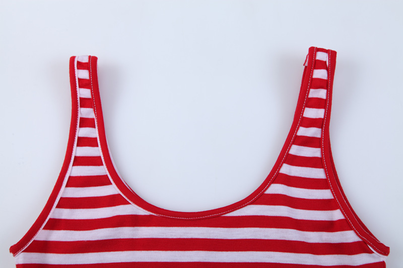 4ccfdd3209f15d Women Sexy Soft Tank Tops Red and White Striped Sleeveless U Fitness Gym  Camis