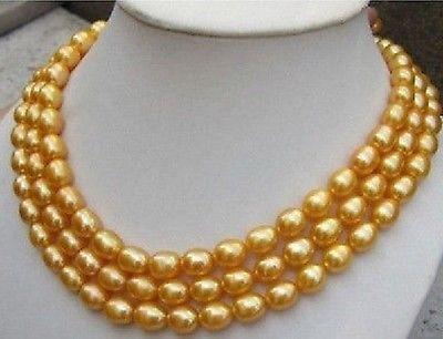 Élégant 9-10mm naturel baroque or perle collier 50 pouces