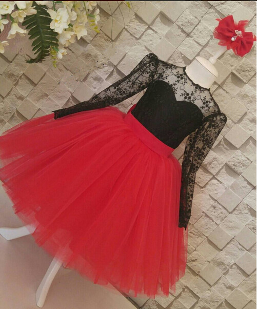 Black lace and red tulle Ball Gown Holy The First Communion Dresses Toddler Kid Gown  Flower Girl Dress For Wedding with bow
