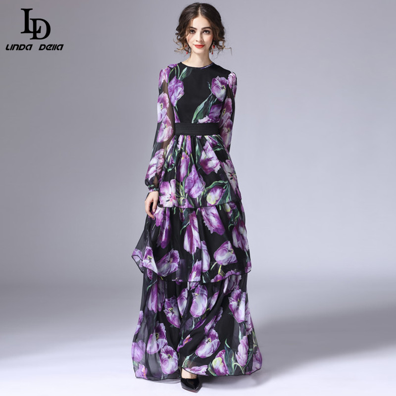 LD LINDA DELLA New Fashion 2016 Runway Maxi Dress Womens Long Sleeve Vintage Tiered Tulip Floral Printed Long Dress
