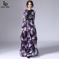 LD LINDA DELLA Spring New Fashion Runway Maxi Dress Women's Long Sleeve Vintage Tiered Tulip Floral Printed Long Dress