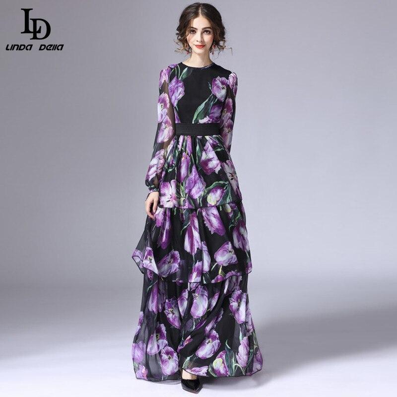LD LINDA DELLA printemps nouvelle mode piste Maxi robe femmes à manches longues Vintage à niveaux tulipe Floral imprimé longue robe