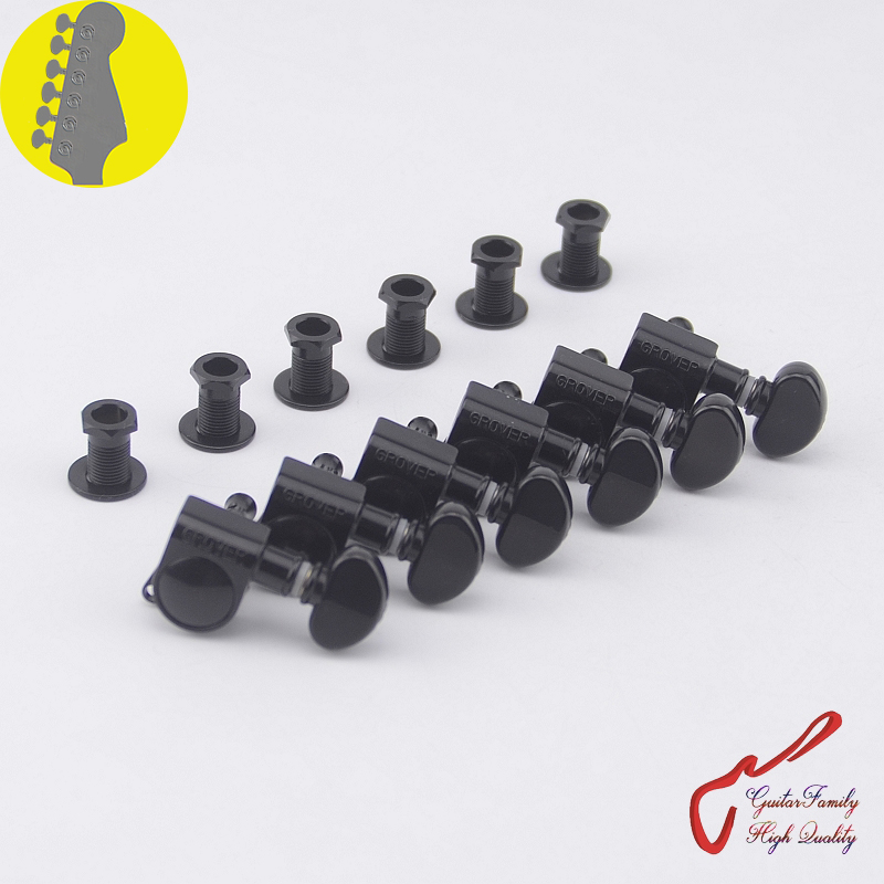 1 Set  6 In-line Genuine Grover Guitar Machine Heads Tuners 1:18  Black  ( without original package )
