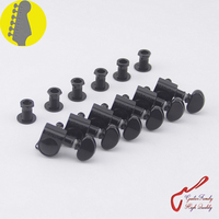 1 Set 6 In line Genuine Grover Guitar Machine Heads Tuners 1:18 Black ( without original package )