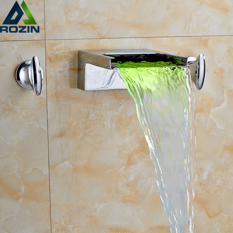 LED Light Wall Mount Waterfall Spout Basin Faucet Chrome Finished Dual Handle Bathroom Mixer Water Tap