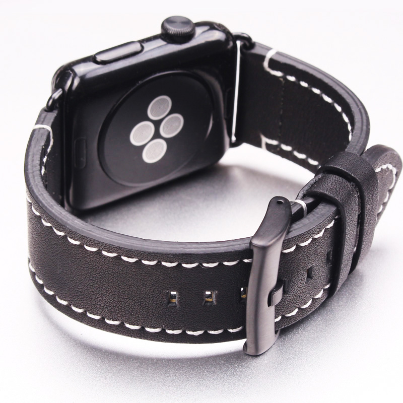 Genuine Leather Watchbands For Iwatch Apple Watch Band Strap 38mm 42mm High Quality Vintage Bracelet Silver Black Buckle high quality black color leather 38 42mm width apple watch strap band for apple watches