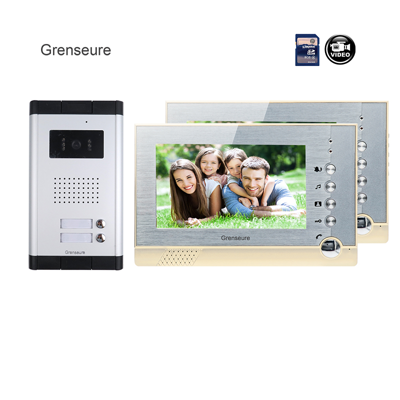 FREE SHIPPING Brand New 7 Color Recording Video Door Phone Intercom + 2 Monitor + 1 Outdoor Door Camera for 2 Family Wholesale brand new wired 7 inch color video door phone intercom doorbell system 1 monitor 1 waterproof outdoor camera in stock free ship