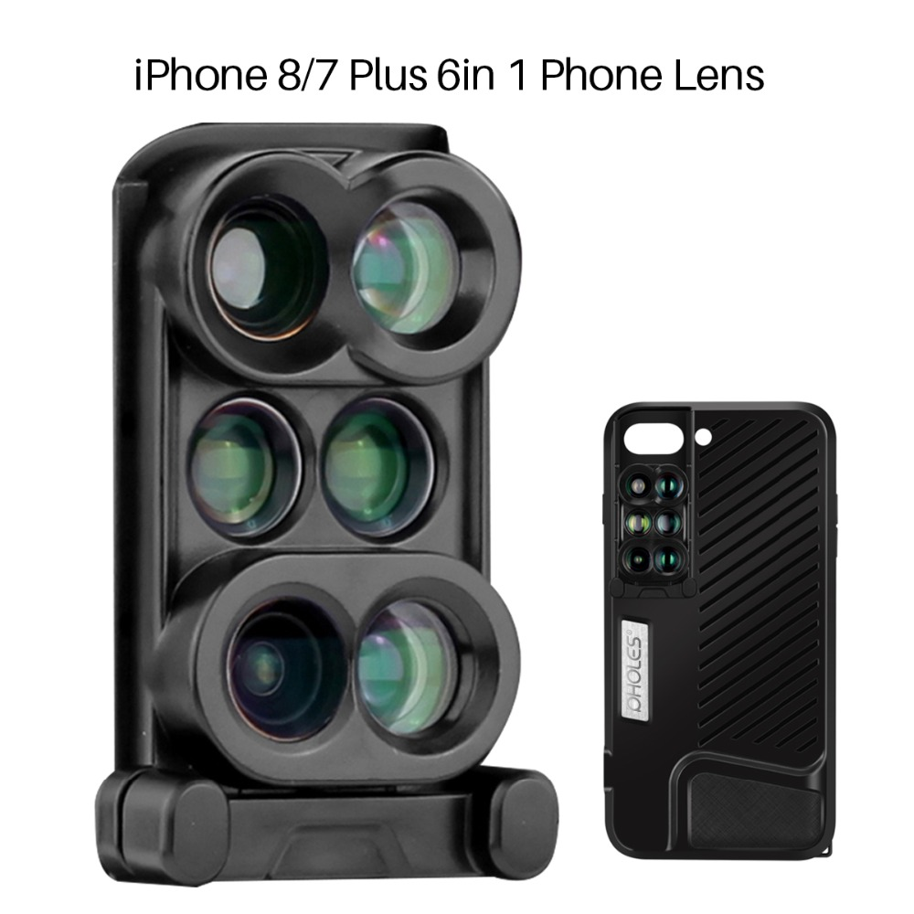 Pholes 6 In 1 Dual Camera Phone Lens For Iphone 7 8 Plus Wide Angle Macro Lens Mobile Phone Fisheye