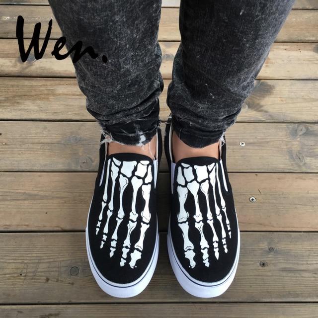 Wen Unisex Slip On Shoes Custom Design Skull Foot Skeleton Hand Painted Canvas Sneakers Black Flats Low Top Platform Plimsolls
