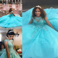Ball Gown Quinceanera Dresses 2019 Sheer Neck Shiny Prom Sweet 16 Gowns robe de bal 15 African Turquoise Blue Keyhole Sleeveless
