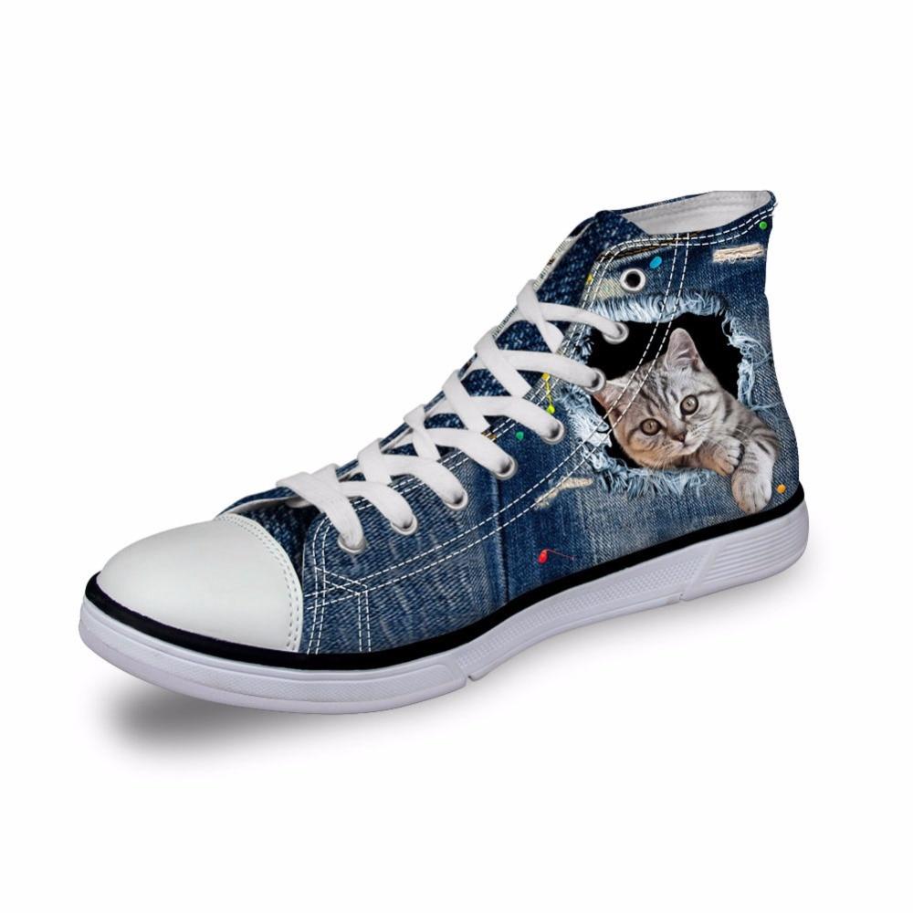 Chat Impression ca4914ak ca4912ak ca4913ak ca4916ak Couleur Ca4911ak Plat Chaussures Femmes Denim Sneakers Noisydesigns akcustomized High Top Toile Dames 3d Refoulée Filles Casual En Vulcanisé ca4915ak Vintage qSRBvZ